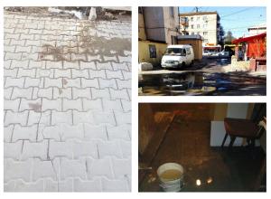 Вырвавшаяся из-под асфальта вода уничтожила имущество волгоградцев