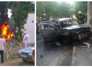 Авто загорелось рядом с газовой трубой и детской поликлиникой в Волгограде