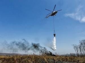 Вертолеты борются с пожарами в Волгоградской области