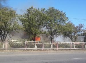 Сильный пожар вдоль продольной на юге Волгограда попал на видео