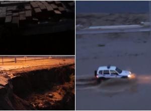 Видео страшных разрушений и провалов на набережной публикует «Блокнот Волгограда»