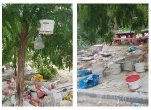 Ужасы капремонта: волгоградский подрядчик завалил детскую площадку строительным мусором и отходами