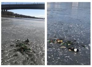 Оставшийся от отдыха волгоградцев мусор вмерз в Волгу