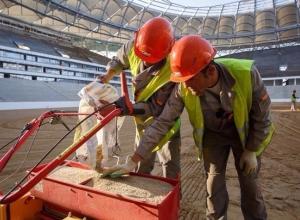 750 кг семян высадили на строящемся стадионе «Волгоград Арена»