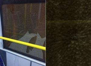 В Волгограде неизвестные расстреляли окна муниципального автобуса № 21