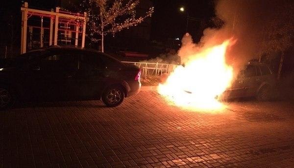 8-летний Renault Logan в считаные минуты сгорел дотла под Волгоградом