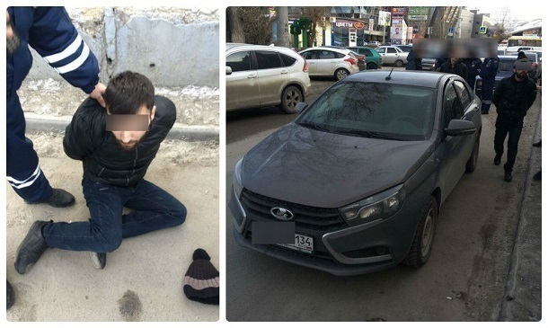 Задержание дерзкого угонщика «Лады» попало на видео в Волгограде
