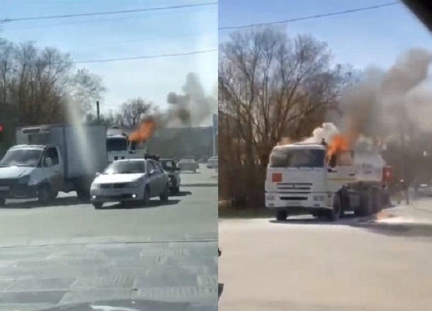 Горящий бензовоз в Волжском сняли на видео