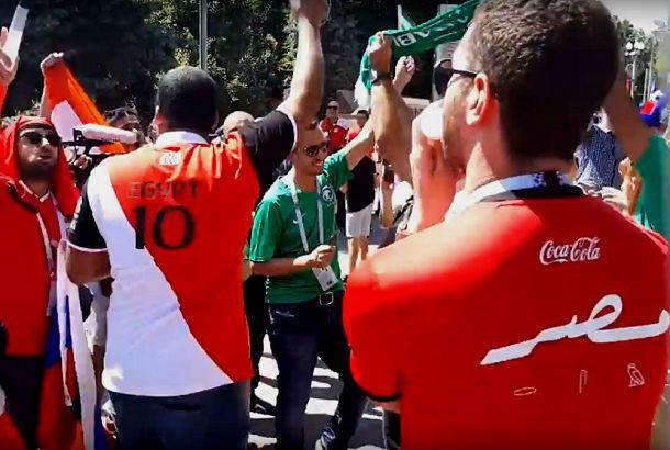 Противостояние болельщиков Египта и Саудовской Аравии сняли на видео в Волгограде