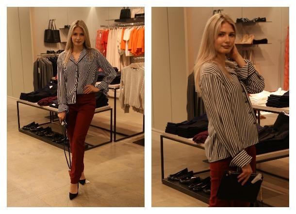 Красные брюки и рубашка в вертикальную полоску: стилист слабо оценила образ волгоградской красавицы