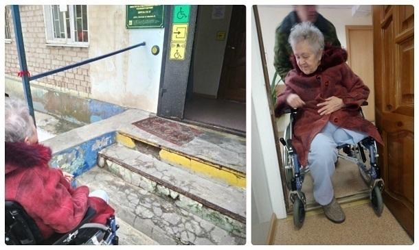 Волгоградские чиновники заставляют колясочников подниматься по ступенькам для получения инвалидности