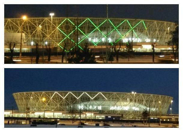 Стадион «Волгоград Арена» засиял всеми цветами радуги
