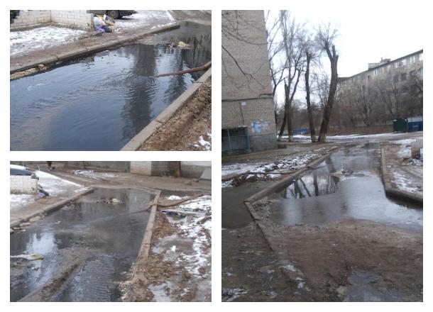 Зеленая зловонная река вытекла из подвала многоэтажки на юге Волгограда