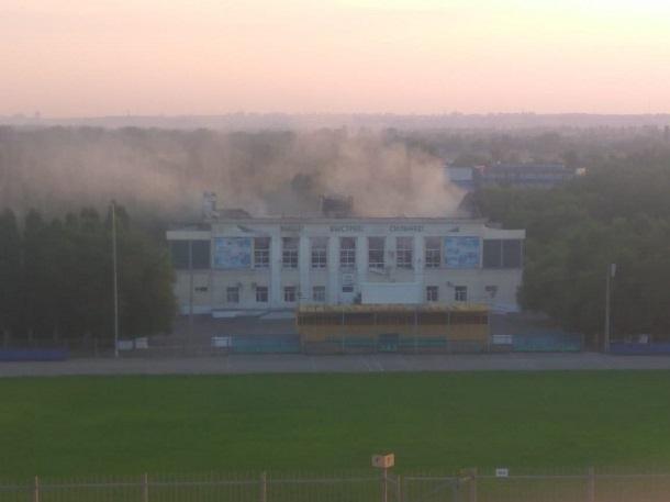 Снова задымился сгоревший стадион в Волжском