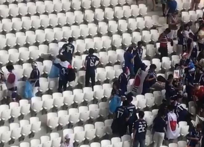 Уборку японских болельщиков на стадионе «Волгоград Арена» сняли очевидцы