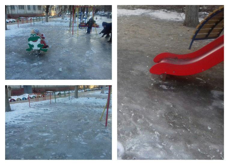 Детская площадка в Волгограде превратилась в смертельно опасный каток