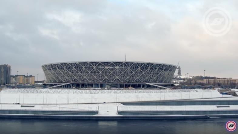 Квадрокоптер заснял усыпанный снегом стадион «Волгоград Арена»