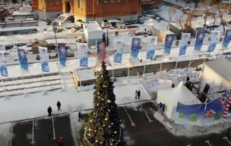 Рождественский «нарядный» Волгоград сняли с высоты птичьего полета