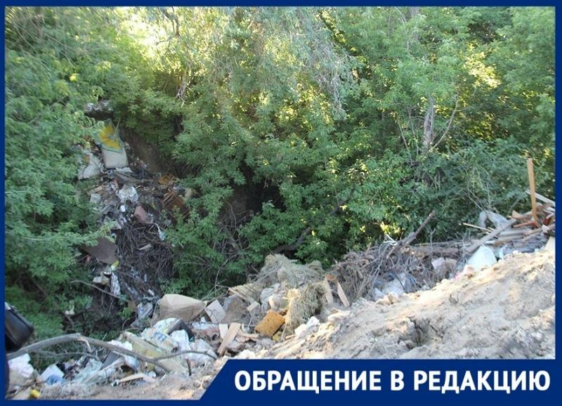 Долину реки Мокрой Мечетки в Волгограде  засыпали строительным мусором