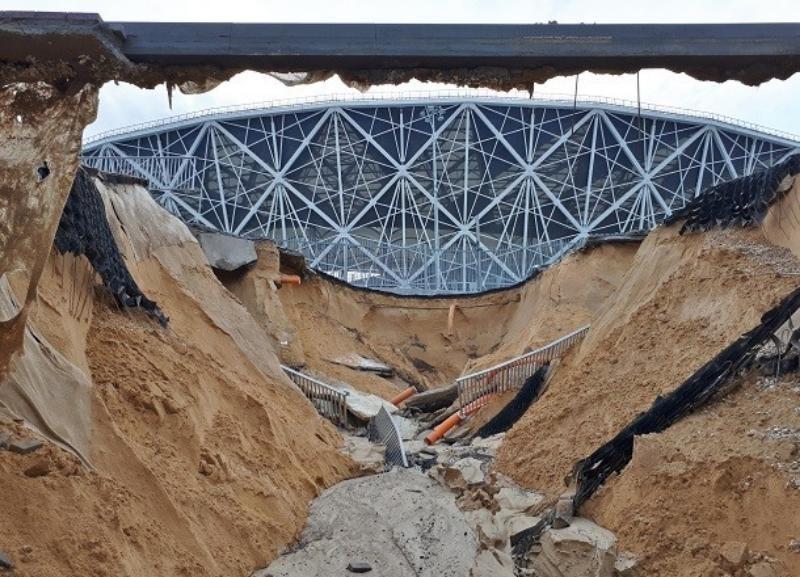 В Центральном районе восстанавливают «поплывший» склон «Волгоград Арены»