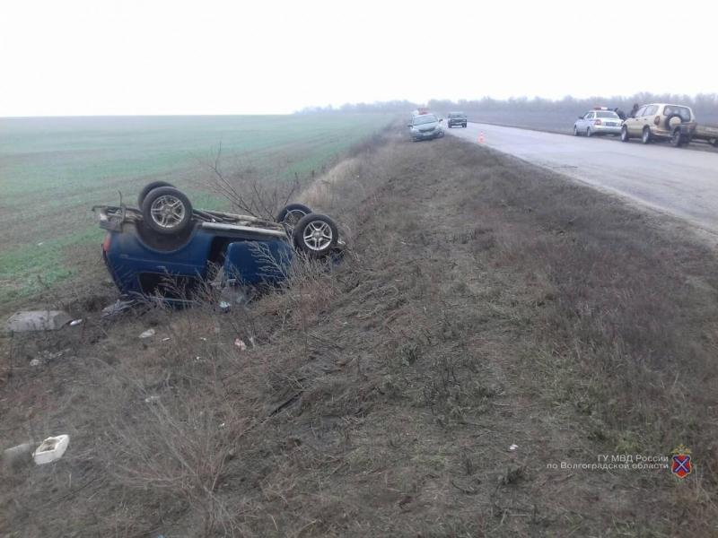 «Нива» перевернулась на мокрой дороге в Волгограде: 1 пострадал