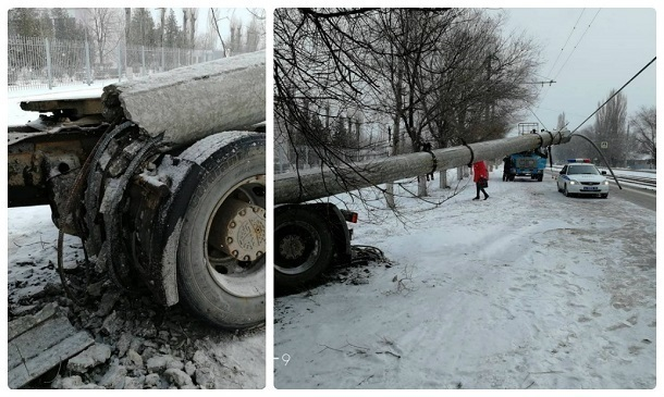 Тягач снес столб и намотал провода на колесо в Красноармейском районе Волгограда