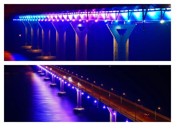 Особенная новогодняя подсветка украсит «Танцующий» и Астраханский мосты Волгограда