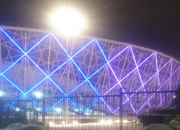 Завершена установка подсветки стадиона «Волгоград Арена»